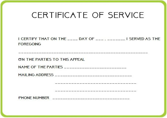 federal certificate of service template