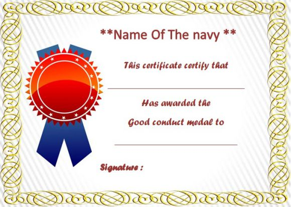 Good conduct certificate templates navy