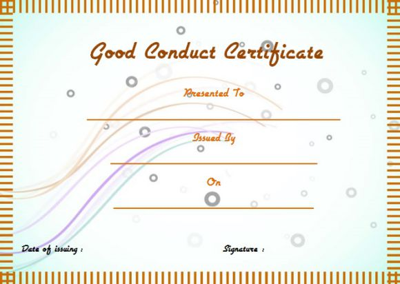 Good conduct medal certificate template