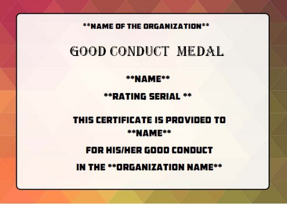Good conduct medal certificate template army