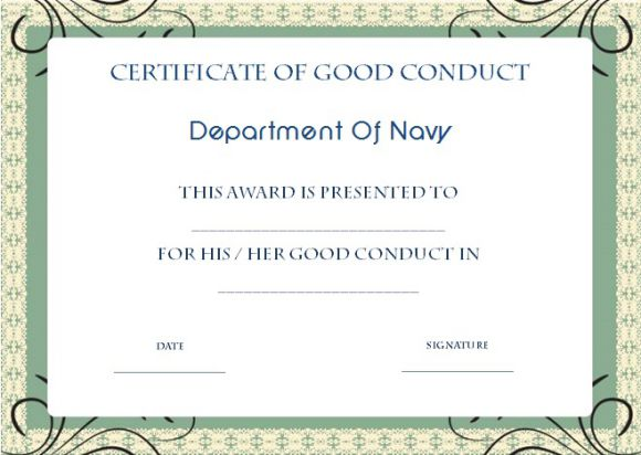 Good conduct medal certificate template navy