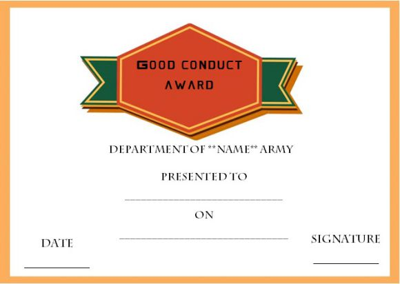 Good conduct medal certificate templates army