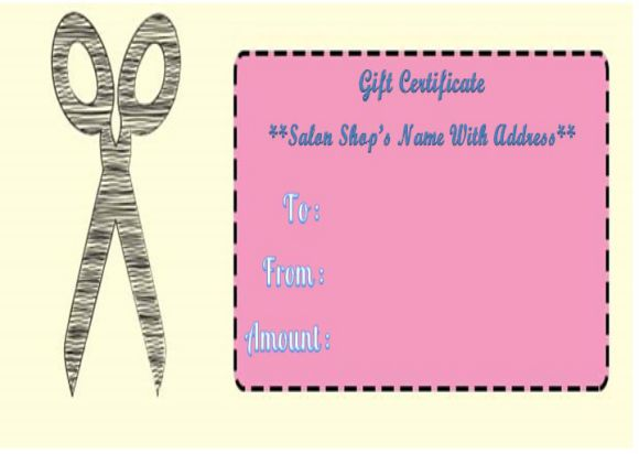 Haircut gift certificate templates