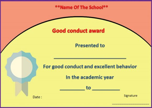Letter for good conduct for a student
