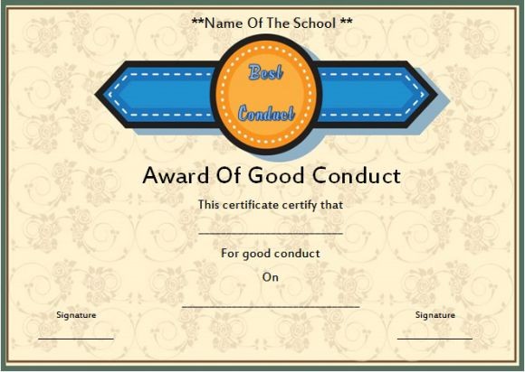 Letters for good conduct for a student