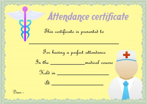 Medical Certificate Of Attendance Template
