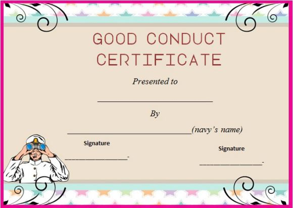 Navy good conduct award certificate templates