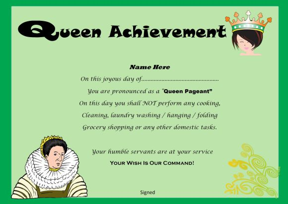Pageant queen achievement printable certificate
