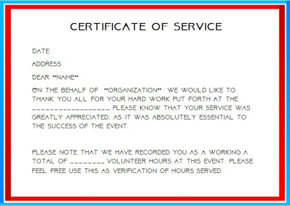 proof of community service letter template