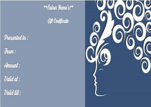 Salon gift card templates