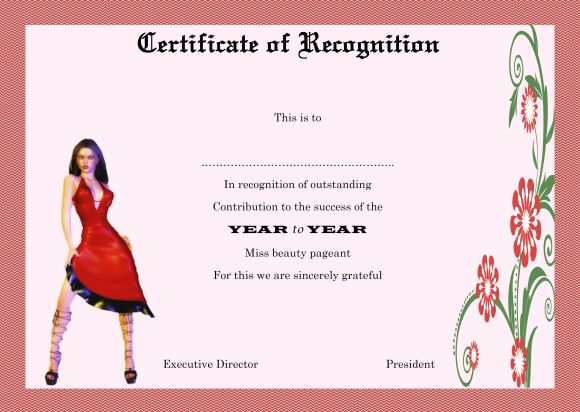 Sample certificate of recognition for beauty pageant