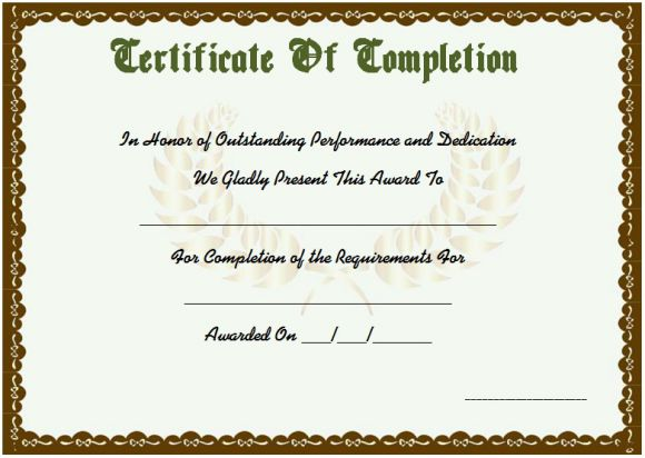 Sample course completion certificate template