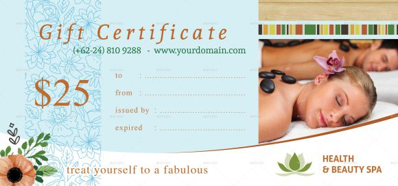 SPA Gift Certificate Template - $25 Coupon