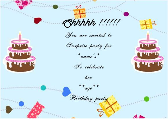 Surprise birthday party invitation for her