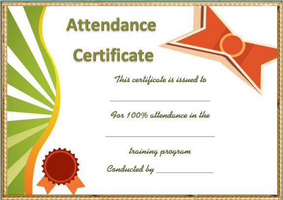 Template Of Certificate Of Attendance Training
