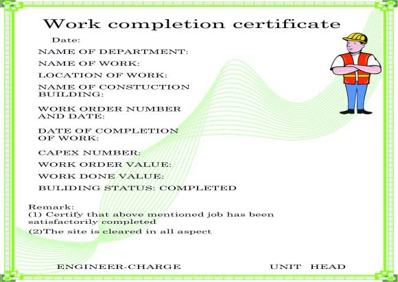 Work Completion Certificate For Construction