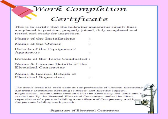 Work Completion Certificate Format For Electrical Work