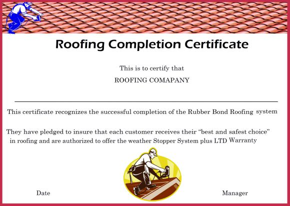 Work Completion Certificate Format For Roofing