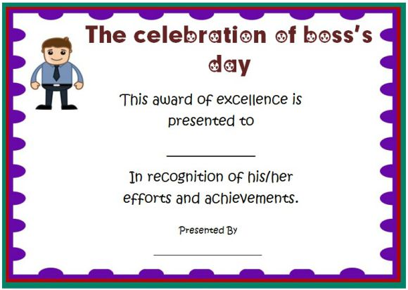 Boss's day certificate free template