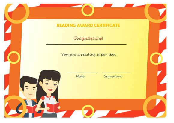 Reading award certificate for student