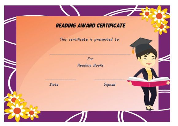 Reading award certificate template
