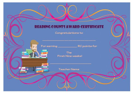 Reading counts award certificate