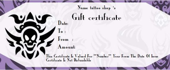Blank tattoo gift certificate template