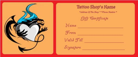 Free printable tattoo gift certificate