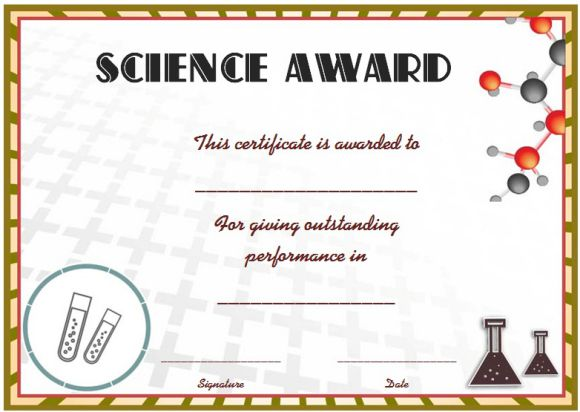Science certificate template for word