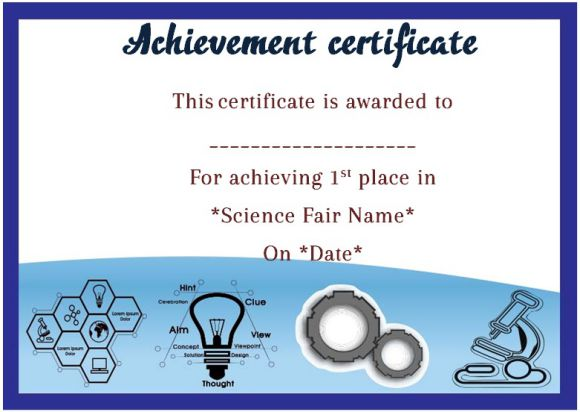 Science fair 1st place certificate