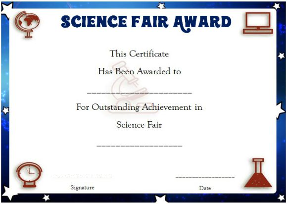 Science fair award certificate printable