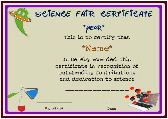 Science fair certificate of recognition
