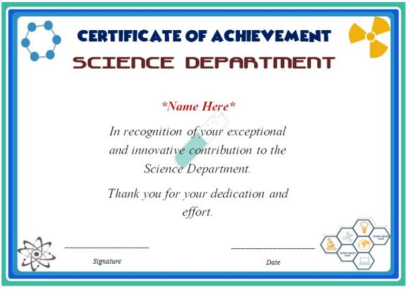 Science fair certificate template
