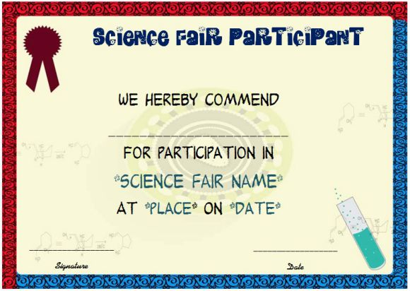 Science fair participation award certificate