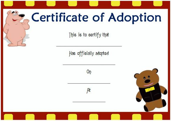 Soft toy adoption certificate template