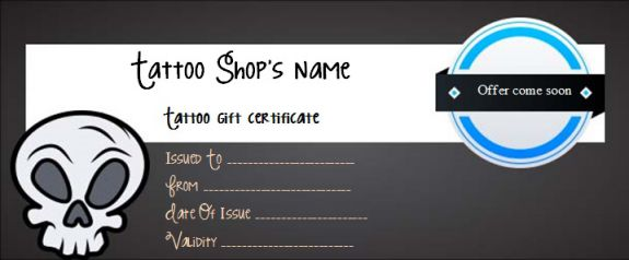 Tattoo gift certificate templates