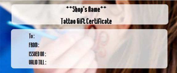 Tattoo gift coupon templates