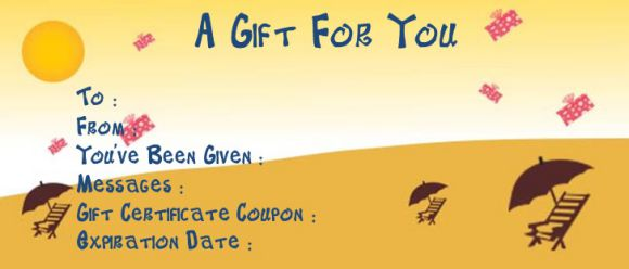 Vacation gift certificate templates