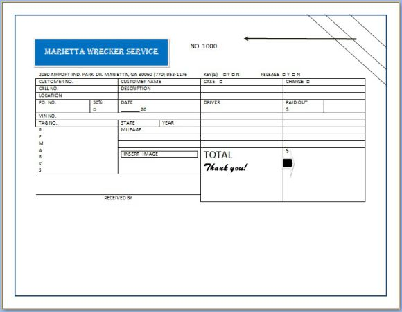 Basic Towing Invoice Form