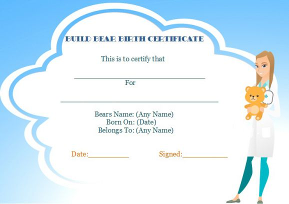 Buil bear birth certificate