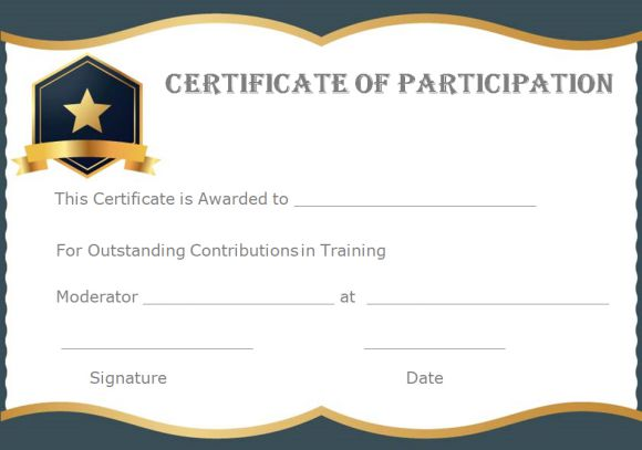 Certificate of participation training template
