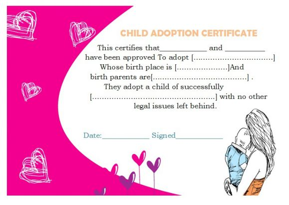 Child adoption certificate