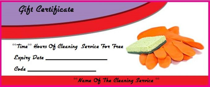 Cleaning gift certificate template