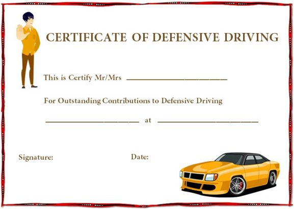 Defensive driving certificate templates