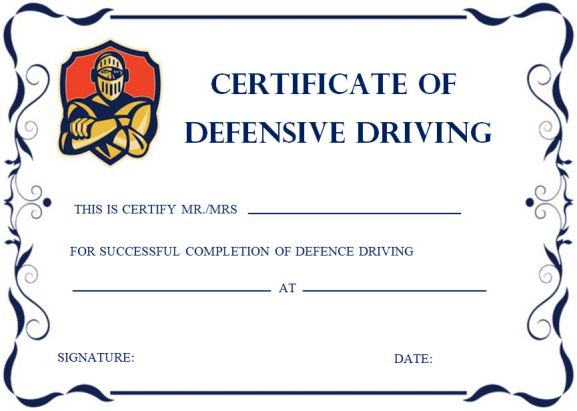 Defensive Driving Certificates