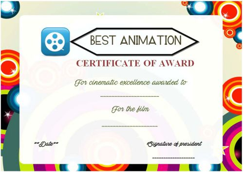 Film And Animation Award Certificate