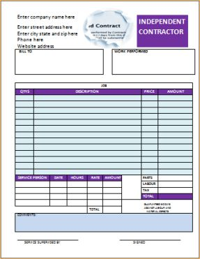 Free Independent Contractor Invoice