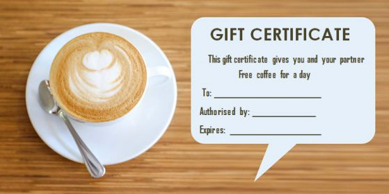Gift Certificate free coffee