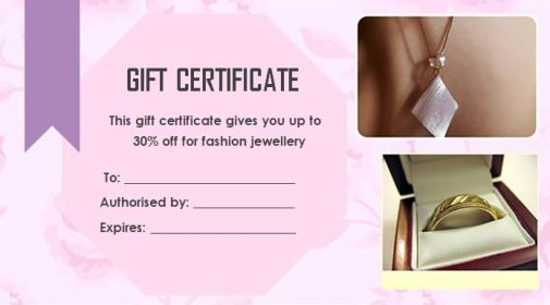 Gift Certificate jewellery