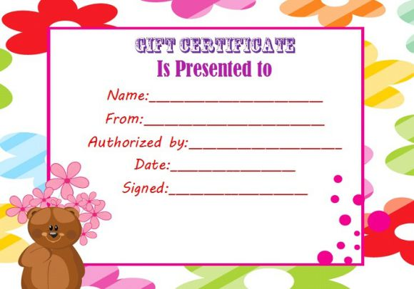 Gift certificate for build a bear
